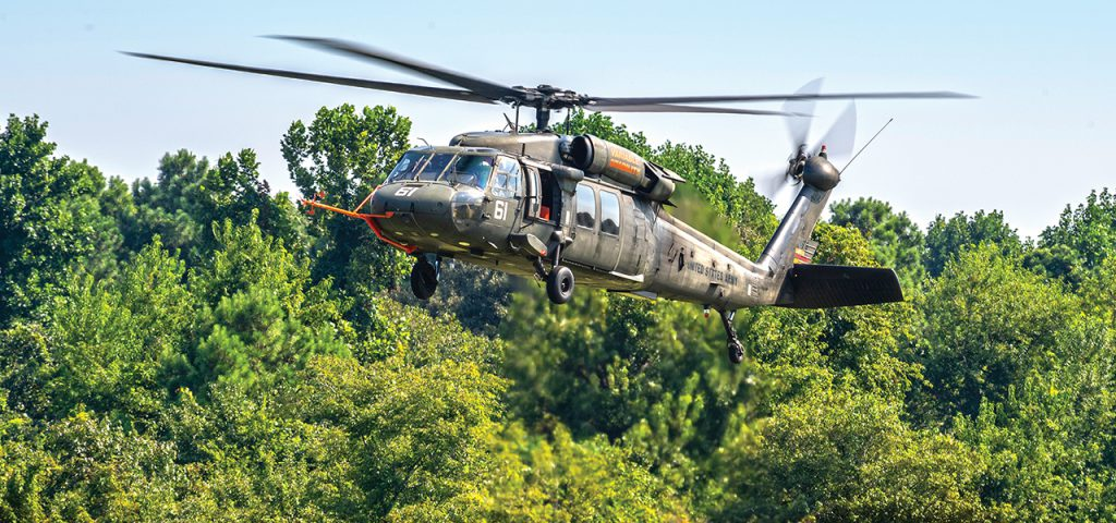 UH-60L, Aicraft 61, Bureau # 872467 of U.S. Navy Test Pilot School conducts Variable Stability System (VSS) testing at Naval Air Station Patuxent RIver on 9 August 2018. The VSS modified aicraft is used to expose students helicopter handling